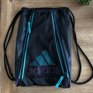 Adidas Drawstring Backpack Book Bag with Zippers